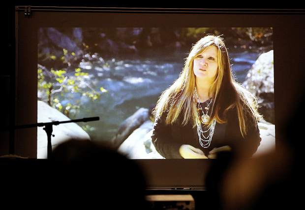 Shelly Covert of the Nevada City Rancheria, one of 144 remaining Nisenan members, speaks during the film on the preservation of the Bear River during Saturday's event.
