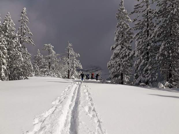 Nordic Skiers of Nevada County arrive at Spaulding Overlook from Steep Hollow Cross Country Ski Trails off Highway 20 on February 6.