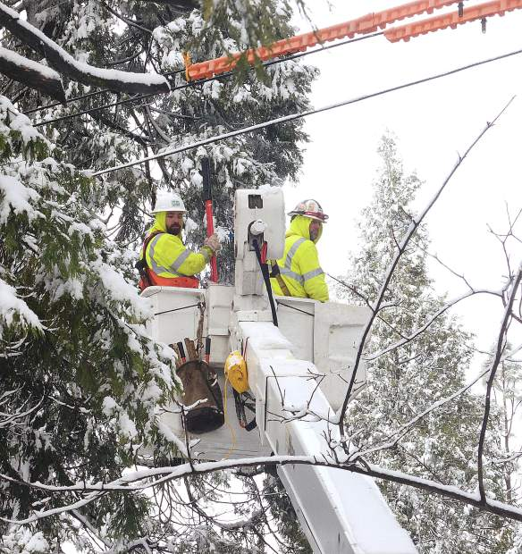 A crew working on the power lines that were taken down by a tree on Banner Lava Cap Road. PG&E is getting a lot of flack these days but thanks to these guys working out in the snow we were able to have power and heat, especially welcome on these cold days.