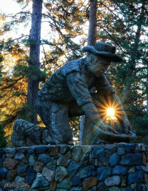 Old Miner statue at Condon Park in Grass Valley.