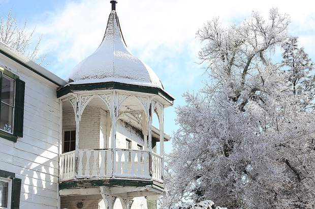 The cupola of The National Exchange Hotel sits covered in snow while awaiting refurbishing and the much anticipated re-opening of the historic Nevada City hotel.