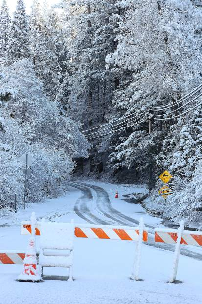 Idaho Maryland at Sutton Way remained closed Thursday, a known problem area for motorists when heavy rains and low snow occurs.