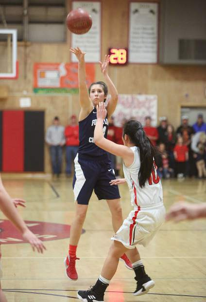Forest Lake Christian senior Lily Sween (14) lets a three pointer fly from beyond the arc during Tuesday's game against the Etna Lions.