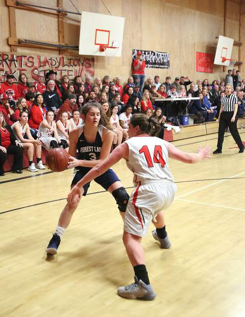 Forest Lake Christian sophomore Sonja Sween (3) brings the ball up court for the Falcons.