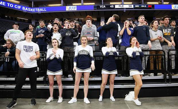 The Forest Lake Christian student cheering section was on hand to root for the Lady Falcons during Friday's championship game at the Golden 1 Center in Sacramento.