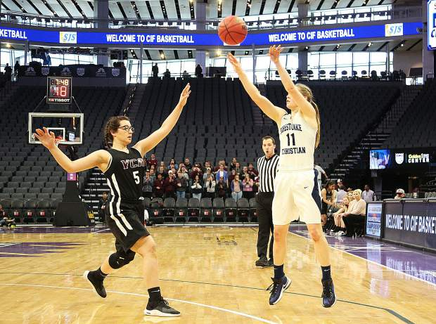 Forest Lake Christian point guard Amber Jackson (11) fires off a jump shot during Friday's championship game at the Golden 1 Center in Sacramento.