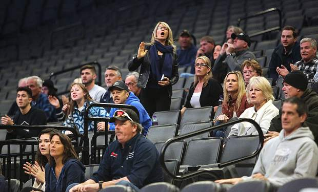 The Forest Lake Christian faithful cheer on the home team during Friday's championship game at the Golden 1 Center in Sacramento.
