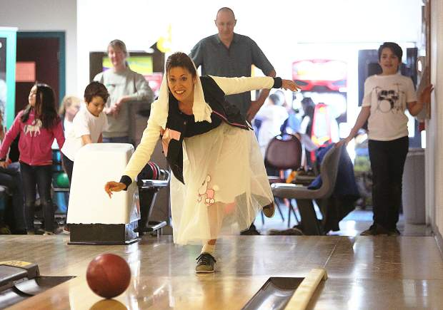 Michelle Callaghan lets a bowling ball fly Saturday at Prosperity Lanes during the 37th annual Bowl For Kids Sake event in Grass Valley. Money raised from the event goes toward the Big Brothers Big Sisters of Nevada County mentoring program.