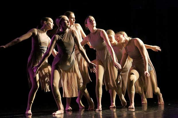 Dancers Eva Anderson, Olivia Andrews, Jaque Long, Elise Rodriguez, Charlotte Stehmeyer, and Eve White perform a choreographed dance by fellow Nevada Union High School student Mia Mahurin titled Lovely during the 18th annual Student Choreography Showcase Saturday at the Don Baggett Theater.