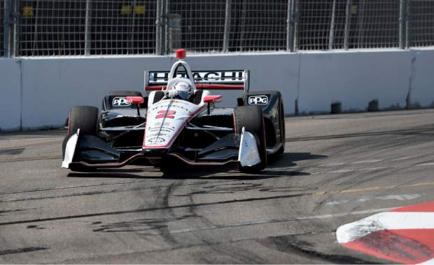 Team Penske driver Josef Newgarden (2) of United States drives through turn ten during the IndyCar Firestone Grand Prix of St. Petersburg (Fla.) auto race Sunday, March 10, 2019, in St Petersburg, Fla. (AP Photo/Jason Behnken)