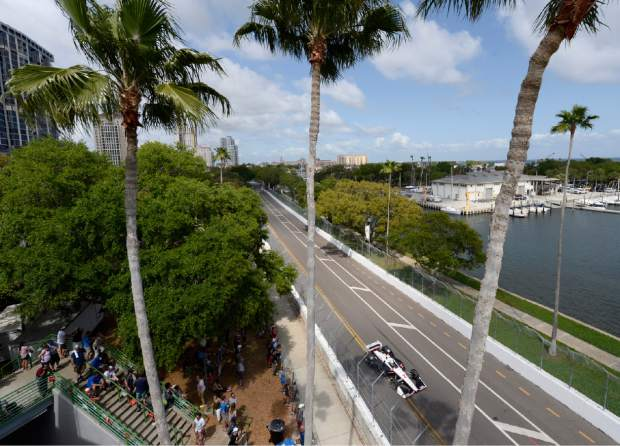 Team Penske's Josef Newgarden (2), of the United States, drives during the IndyCar Firestone Grand Prix of St. Petersburg (Fla.) auto race Sunday, March 10, 2019, in St Petersburg, Fla. (AP Photo/Jason Behnken)
