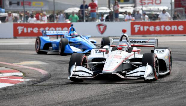 Team Penske's Will Power (12), of Australia, drives during the IndyCar Firestone Grand Prix of St. Petersburg (Fla.) auto race Sunday, March 10, 2019, in St Petersburg, Fla. (AP Photo/Jason Behnken)