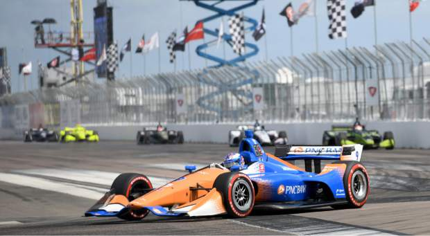 Chip Ganassi Racing driver Scott Dixon (9) of New Zealand drives through turn one during the IndyCar Firestone Grand Prix of St. Petersburg (Fla.) auto race Sunday, March 10, 2019, in St Petersburg, Fla. (AP Photo/Jason Behnken)