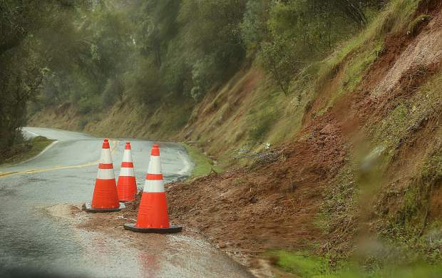 Small mud and rock slides could be found along Highway 49 and Pleasant Valley Road through the South Yuba River State Park Wednesday.