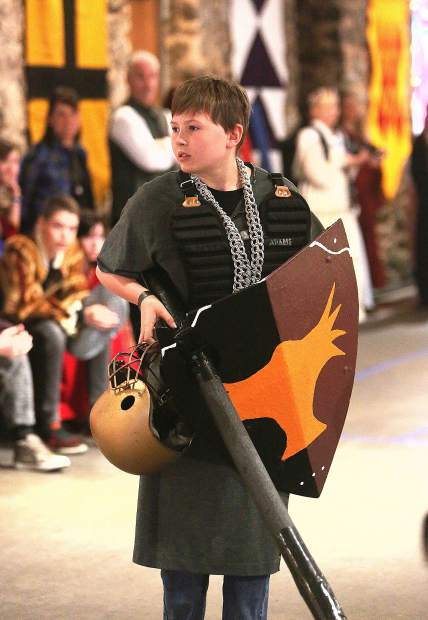 Sir Knight Kyuss McKenna prepares to enter the jousting arena during the Medieval Feast Wednesday.