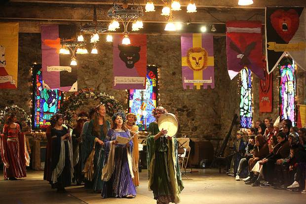 Entertainment is provided for the Seven Hills Middle School students by many entities during the Medieval Feast, including the Nevada Union High School Choir, a magician, and sword fighters.