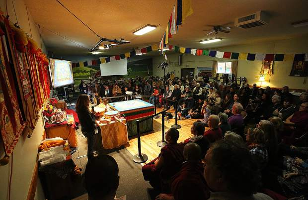 The Banner Community Guild was standing room only during Saturday's sand mandala dissolution and closing ceremony to the Tibetan Monk's stay in Grass Valley.