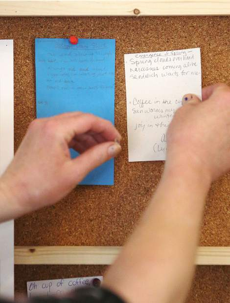 A pair of customer poems are pinned up on the wall at Broad Street Bistro Thursday.