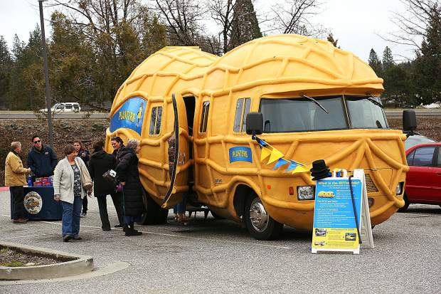 The styled exterior of the Nut Mobile got its shape with the help of pool noodles. Folks got the opportunity to check out the exterior and interior up close while the Nut Mobile was in Grass Valley.