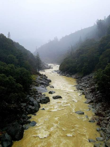 South Yuba River down from the Highway 49 Bridge flowing strong.