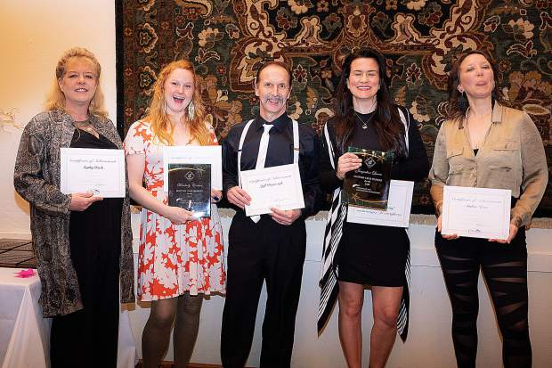 First-year Masters Club members received their honor Saturday, including, from left, Kathy Clark, Kim Carlsen, Jeff Bogaczyk, Jacqueline Lucero and Amber Kerr.
