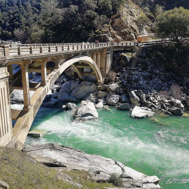 South Yuba River going under the Highway 49 bridge looks spectacular right now.