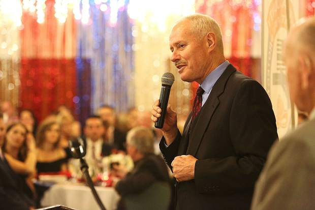 Retired Nevada County Sheriff Keith Royal provides a speech after receiving awards and proclamations for his 20 years of service as the county's Sheriff.during Saturday's Red Light Ball at the Alta Sierra Country Club.