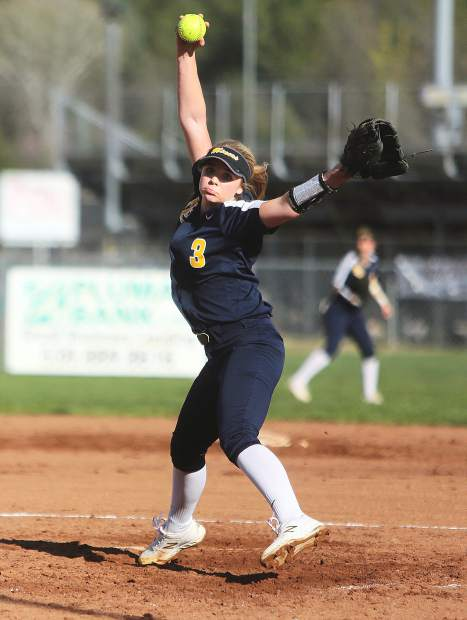 Nevada Union pitcher Makena Hayden readies to fire a throw during the Lady Miners' 8-5 win over the Lady Bruins Thursday at Bear River.