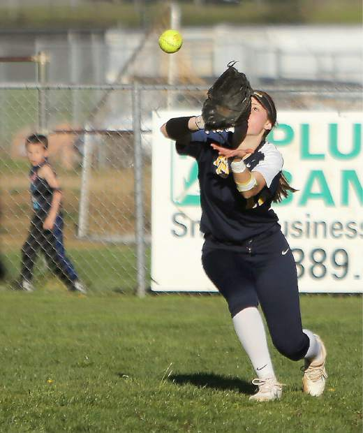 Nevada Union outfielder Michelle Gonzales catches a deep fly ball late in the game against the Bear River Lady Bruins.
