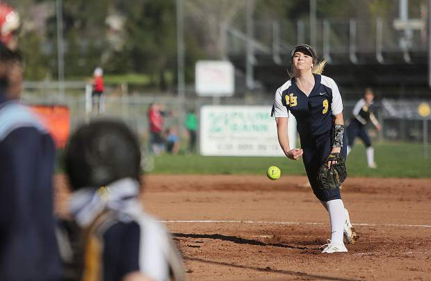 Nevada Union pitcher Makena Hayden earend the win from the circle against Bear River Thursday. The freshman hurler pitched a complete game and struck out 11.