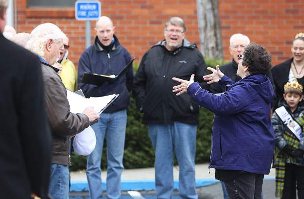 Eleanor Kenitzer conducts the Grass Valley Male Voice Choir as they sing a selection of songs prior to the Pasty Olympics.