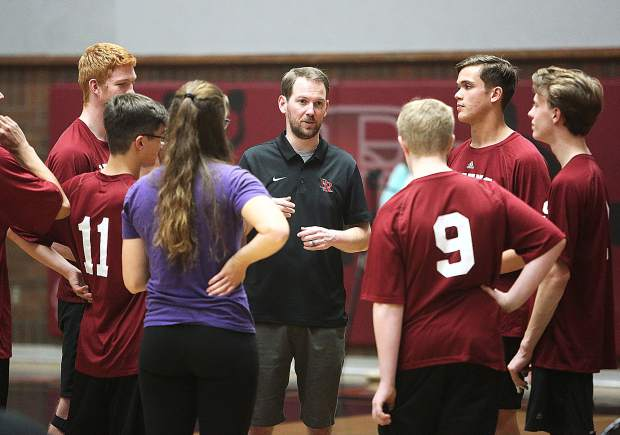 Bear River varsity boys volleyball head coach Jon Good talks to his team in between sets during Tuesday's win over the Pioneer Patriots.