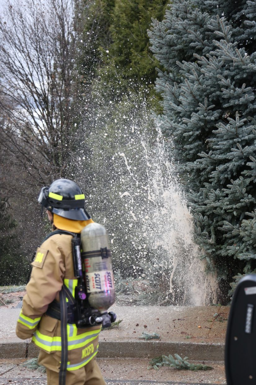 A water main to a nearby home spouts water after being damaged by the vehicle.