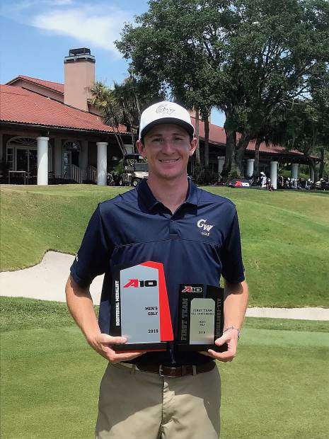 Logan Lowe closed with a final round 68 to charge back from three strokes behind the leader and win the 2019 Atlantic 10 Championship, Sunday in Orlando, Florida.
