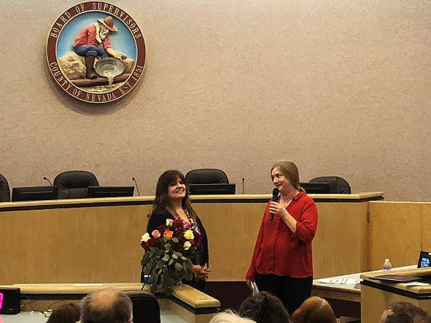 Shelly Covert of CHIRP and Eliza Tudor spoke about the importance of art in Nevada County before presenting the arts economic report.