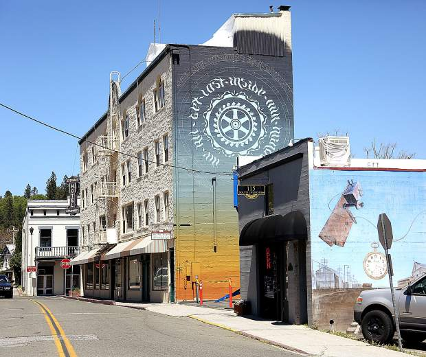 A new mural going up on the Everhart hotel building in downtown Grass Valley joins the area's other public mural art and offers another creative outlet for the area's burgeoning arts scene.