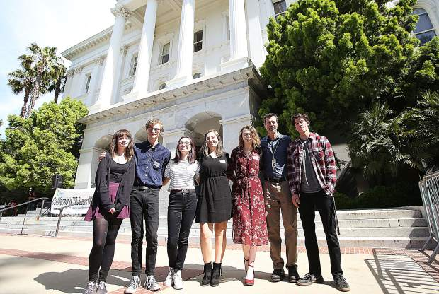 Ari Robison (from left), Seanan Maher, Alia Rice, Brenna Chargin, Lauren Yantis, drama instructor Rob Metcalfe and Toby Farwell were among the Nevada County representatives on hand for the the arts advocacy rally on the steps of the State Capitol Tuesday.