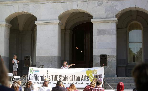 Californians for the Arts Executive Director and Nevada City resident Julie Baker led the arts advocacy rally on the steps of the State Capitol Tuesday morning.
