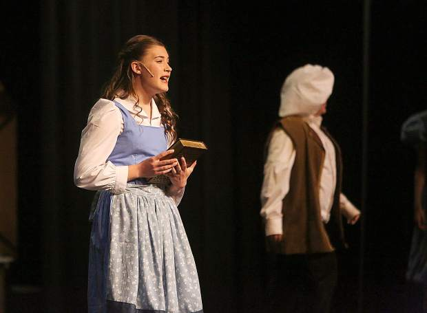 Belle, played by Lyman Gilmore's Addison Parmenter, sings about wanting adventure in the great wide open during one of the opening scenes of Lyman Gilmore Musical Theater's production of Beauty and the Beast.