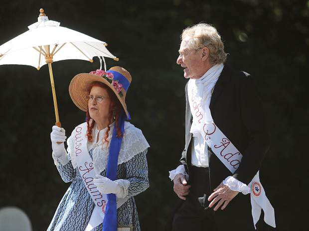 John Quincy Adams and first lady Louisa Adams walk along Broad Street during last year's Constitution Day Parade.