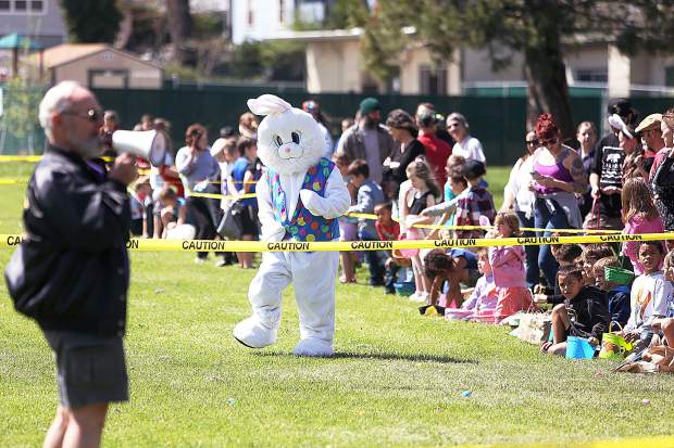 The Easter bunny along with members of the Grass Valley Moose Lodge, held their 46th annual Easter Egg Hunt Saturday on the grounds of Grass Valley Charter School.