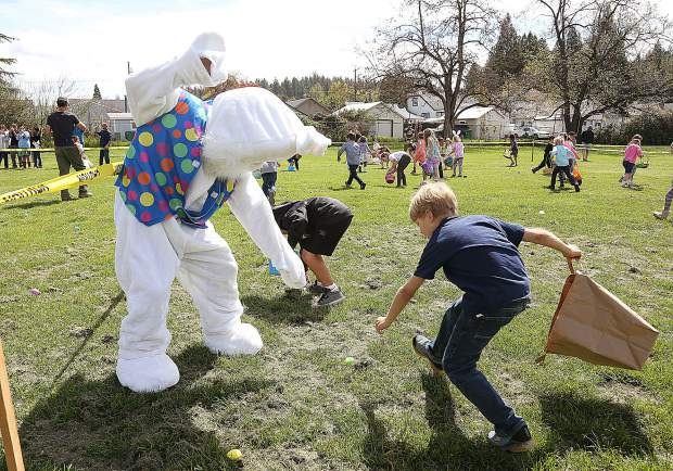 Even the Easter bunny himself helped young egg hunters find their eggs at the annual Moose Lodge Easter Egg Hunt at Grass Valley Charter School Saturday morning.