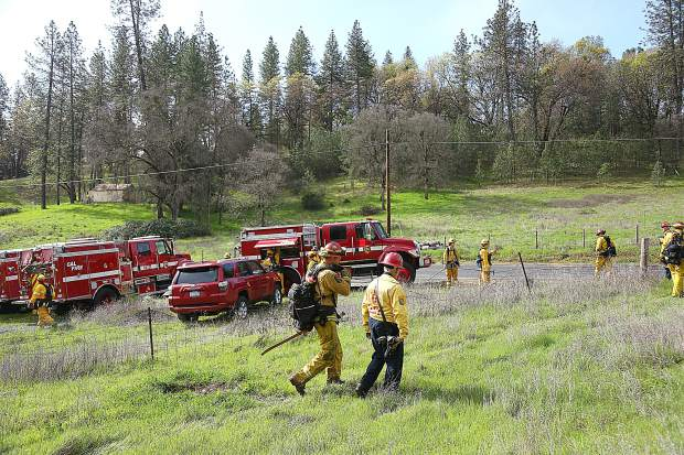 Firefighters from Grass Valley, North San Juan, Truckee and others assemble along Darkhorse Drive during Saturday's Lake of the Pines wildland urban interface fire drill. Regional first responders descended upon Lake of the Pines to learn valuable skills needed during the event of a wildfire evacuation.