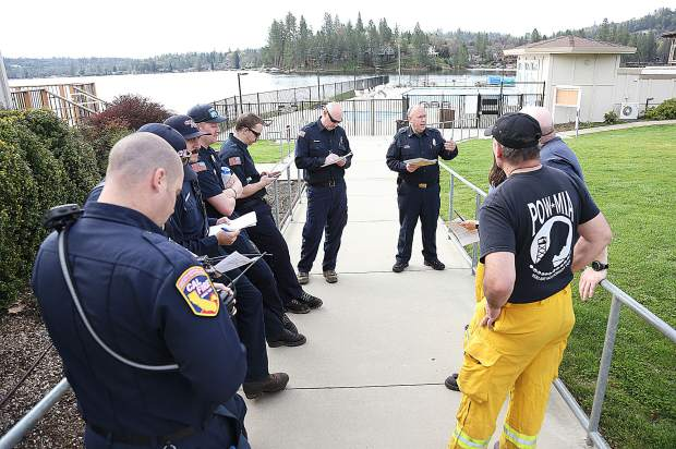 Fire crews were separated into different groups that rotated through the various training scenarios set up in and around the Lake of the Pines community of Nevada County Saturday.