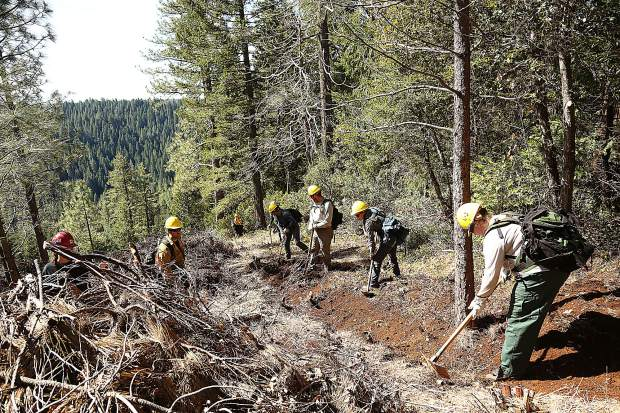 Work for Warriors participants cut a fire break line around a section of Tahoe National Forest set for a prescribed burn during Wednesday's field training day. Vets in the program can receive a wildland firefighter certificate after completing the 40 hour course.