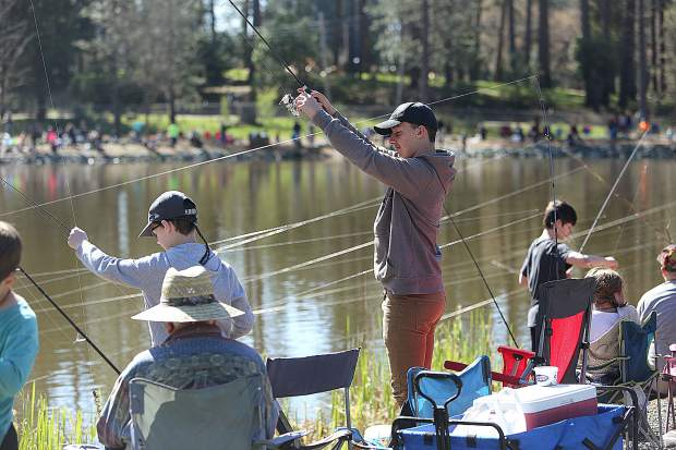 Over 310 children signed up for the free trout fishing event at Nevada County Fairground's Lions Lake.