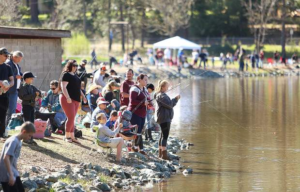 Hundreds of fishermen and women took to the waters of Lions Lake at the Nevada County Fairgrounds Saturday during the 47th annual Grass Valley Sportsmen's Club's Trout Derby.