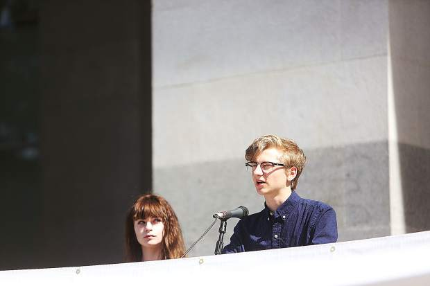 Nevada Union High School students Seanan Maher and Ari Robison speak in front of hundreds on the south steps of the California State Capitol building during arts advocacy day Tuesday April 23.