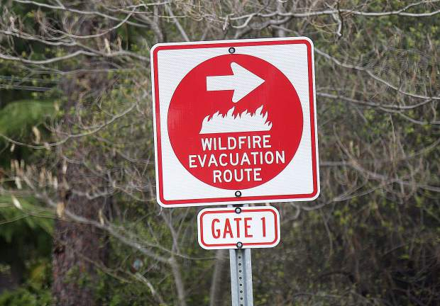 Wildfire evacuation routes are designated throughout the Lake of the Pines gated community, visible during the recent wildfire training incident April 7.