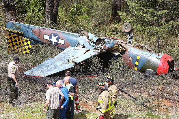 The fuselage of a 1989 Nanchang CJ-6 sits upside down and damaged after a braking system failure sent the plane over the end of the runway at the Nevada County Airport Friday April 19.